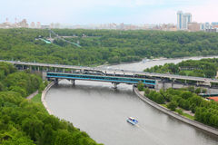 Moscow River, Luzhnetsky Bridge Stock Photos