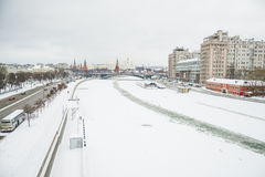 Moscow river and Moscow Kremlin Stock Images