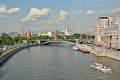 Moscow river and Moscow Kremlin. Stock Images