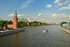 Moscow river and Moscow Kremlin. Royalty Free Stock Image