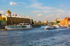 Moscow river. Navigation on Moscow river, Moscow, Russia Stock Photos