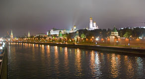 Moscow river by night Royalty Free Stock Image