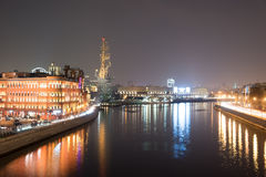 Moscow river at night and monument to Peter the Great. Royalty Free Stock Images
