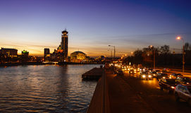 Moscow River at night Stock Photos