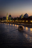 Moscow river at night. Steamboat on the night Moscow river and the Kremlin Royalty Free Stock Image