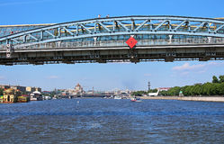 Moscow river and Pedestrian Andreevsky bridge in Moscow, Russia Royalty Free Stock Photography