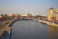 Moscow river. Prechistenskaya embankment. The Moscow river, the brige and Moscow Kremlin Stock Photos