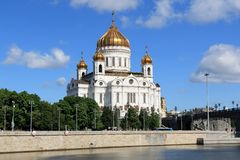 Moscow River, Prechistenskaya Embankment and the Cathedral of Christ the Savior in Moscow royalty free stock image