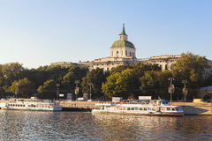 Moscow River, Russia. This picture is taken at Moscow, Russia. The Radisson Royal Hotel, Moscow is a five-star luxury hotel in Moscow city centre, on a bend of royalty free stock photo