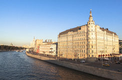 Moscow River, Russia. This picture is taken at Moscow, Russia. The Radisson Royal Hotel, Moscow is a five-star luxury hotel in Moscow city centre, on a bend of royalty free stock photography