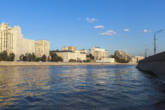 Moscow River, Russia. This picture is taken at Moscow, Russia. The Radisson Royal Hotel, Moscow is a five-star luxury hotel in Moscow city centre, on a bend of stock photography