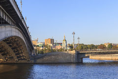 Moscow River, Russia. This picture is taken at Moscow, Russia. The Radisson Royal Hotel, Moscow is a five-star luxury hotel in Moscow city centre, on a bend of royalty free stock photos
