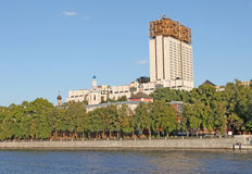 Moscow river with and Russian Science Academy building. Royalty Free Stock Images