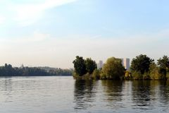 The Moscow River in Serebryany Bor. MOSCOW, RUSSIA - SEPTEMBER 24, 2015: The Moscow River in Serebryany Bor Royalty Free Stock Photography