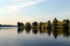 The Moscow River in Serebryany Bor. MOSCOW, RUSSIA - SEPTEMBER 24, 2015: The Moscow River in Serebryany Bor Stock Photography