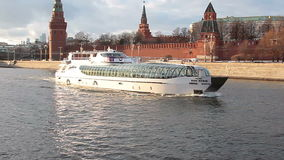 Moscow river ship excursion tram near Kremlin stock footage
