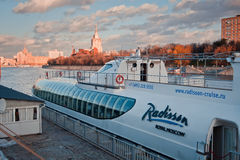 Moscow-river and ship-restaraunt. Radisson Royal Moscow flotilla royalty free stock image
