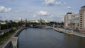 Moscow. River ships and clouds. View of the Kremli Stock Photos