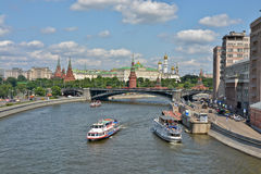 Moscow river and the ships. Stock Images