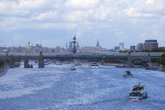Moscow river summer in city 2014. August sunday Royalty Free Stock Image