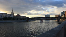 Moscow river at sunset stock video