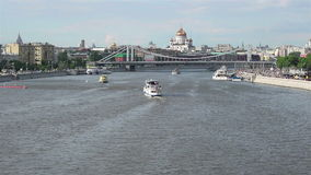Moscow river traffic stock video