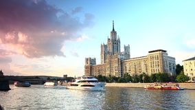 Moscow river transport stock video footage