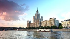 Moscow river transport stock footage
