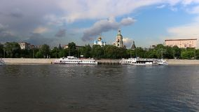 Moscow river transport stock video