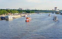 Moscow river. Вид на Москву-реку, на парусные лодки и Парк Горького Royalty Free Stock Photo