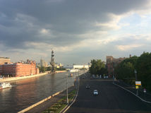 Moscow river with view to Peter I monument Royalty Free Stock Images