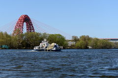 The Moscow river. Views of the Picturesque bridge. MOSCOW, RUSSIA - APRIL 25, 2014: The Moscow river. Views of the Picturesque bridge Royalty Free Stock Photos