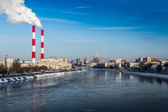 Moscow river in winter time. stock photo