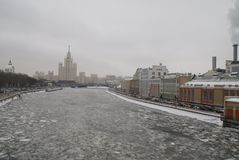Moscow river in winter. View of the ice drift of the Moscow river on the bridge Stock Photos
