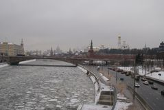 Moscow river in winter. View of the ice drift of the Moscow river on the bridge Royalty Free Stock Photography
