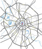Moscow roads map Royalty Free Stock Photos