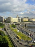 Moscow roads. Moscow, Russia. view from the Russian White House Royalty Free Stock Image