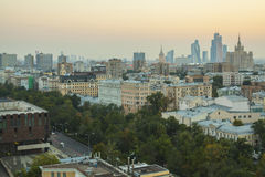 Moscow roofs evening view. City center roofs evening view panorama - Moscow, Russia Royalty Free Stock Photos