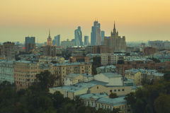 Moscow roofs evening view. City center roofs evening view panorama - Moscow, Russia Royalty Free Stock Photography
