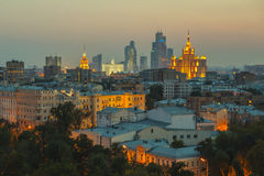 Moscow roofs evening view. City center roofs evening view panorama - Moscow, Russia Royalty Free Stock Images