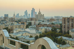 Moscow roofs evening view. City center roofs evening view panorama - Moscow, Russia Royalty Free Stock Photo
