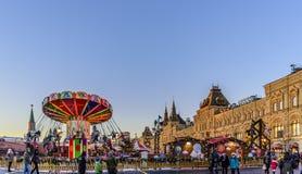 moscow Rosji boże narodzenie w nowym roku Plac Czerwony Widok dziąsło, jarmark i nowego roku carousel, obrazy stock