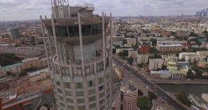 moscow Rosji Widok z lotu ptaka Rosyjscy kulturalni centrum «Czerwoni wzgórza zawiera centrum biznesu «brzeg rzeki góruje «, Mosk zbiory wideo