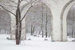 Rostokinsky aqueduct. Arch over the river Yauza. Moscow. Rostokinsky aqueduct. Arch over the river Yauza Royalty Free Stock Images