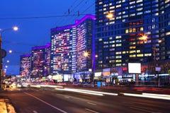 moscow Rua nova de Arbat na noite Foto de Stock Royalty Free
