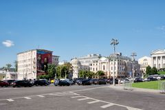 View of Borovitskaya Square in Moscow, Russia. The Art Gallery of artist Alexander Shilov in the background stock photo