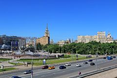 Moscow, Russia – May 25, 2018: Berezhkovskaya Embankment of the Moscow River and Europe Square stock photo