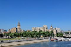 Moscow, Russia – May 25, 2018: Moscow River, Berezhkovskaya Embankment and Europe Square royalty free stock image