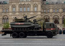 Multifunctional unmanned combat reconnaissance and fire support module `Uranus-9` on red square. MOSCOW, RUSSIA — MAY 6, 2018: Multifunctional unmanned combat Royalty Free Stock Images