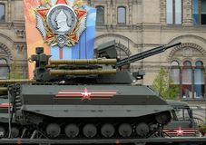 Multifunctional unmanned combat reconnaissance and fire support module `Uranus-9` on red square. MOSCOW, RUSSIA — MAY 6, 2018: Multifunctional unmanned combat Royalty Free Stock Photos